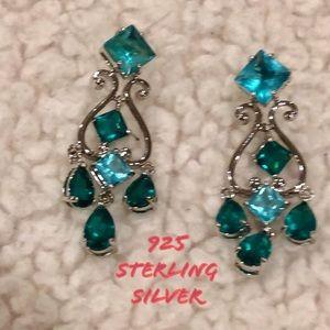 Boho 925 sterling silver teal chandelier earrings